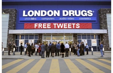 London Drugs with Free Tweets banner